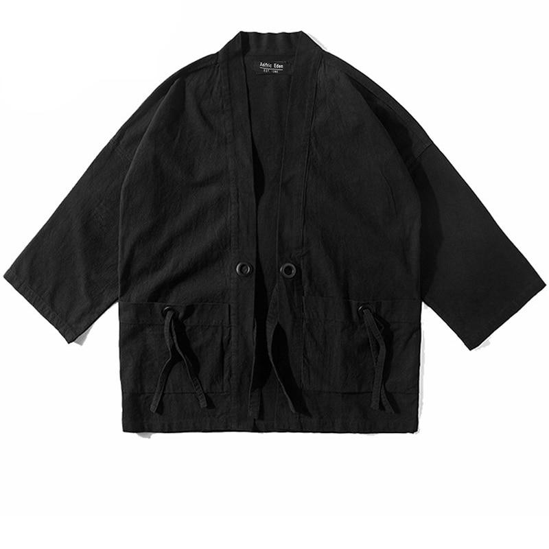Cardigan-Tops Thin-Coat Trench Windbreaker Japanese-Style Retro Black Cotton Casual Man