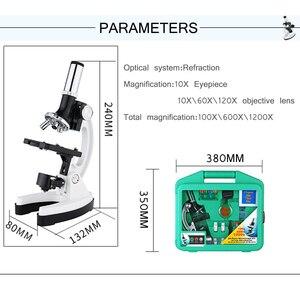 Image 2 - Цифровой микроскоп 1200X, набор аксессуаров для детей, подарок для студентов, цельнометаллический белый микроскоп 100X 600X 1200X