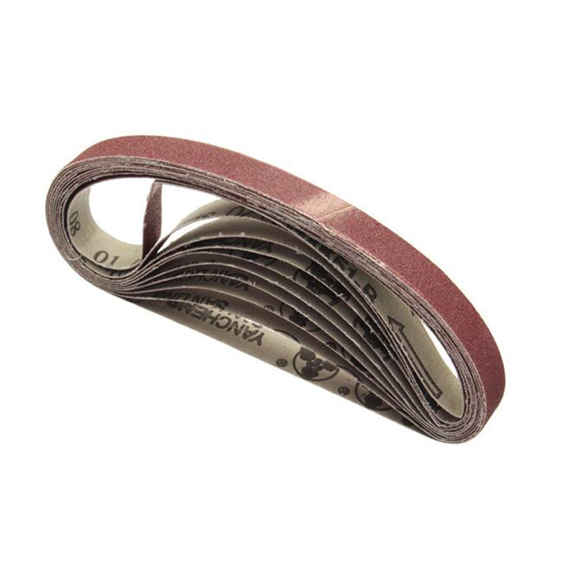 10Pcs 15x452mm Sanding Belt 60/120/240/400/600 Grit For M10 Sander Adapter Polishing Machine Abrasive Tools