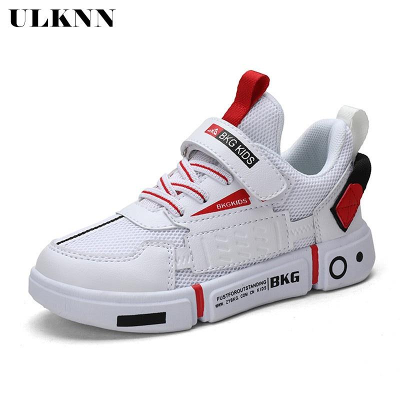ULKNN White Mesh Child Sports Shoes  2020 Spring New Dual-network Boys Shoes White Sneakers Big Virgin Size 28-39