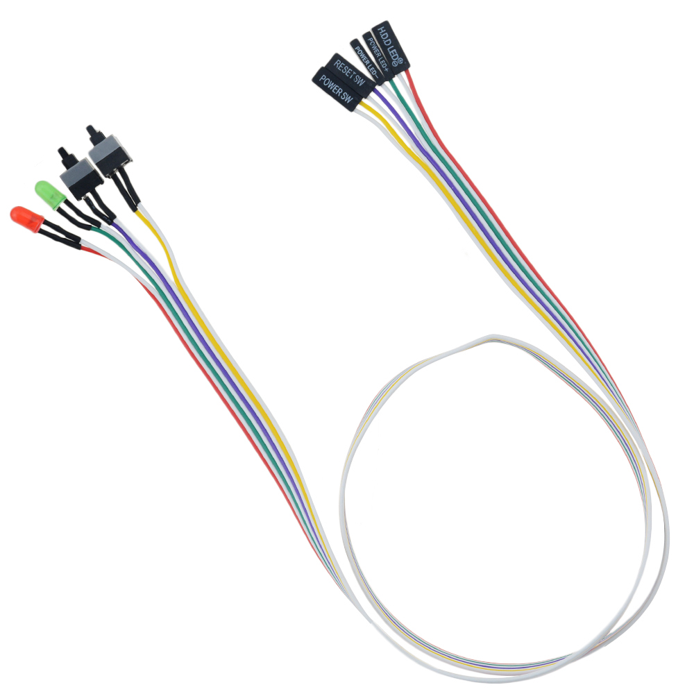 68CM Slim ATX PC Compute Motherboard Power Cable Original On/Off/Reset with LED Light PC Power Reset Switch Push Button Switch