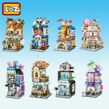 LOZ 미니 블록 도시보기 장면 커피 숍 소매점 아키텍처 모델 및 빌딩 퀴즈 어린이를위한 크리스마스 장난감