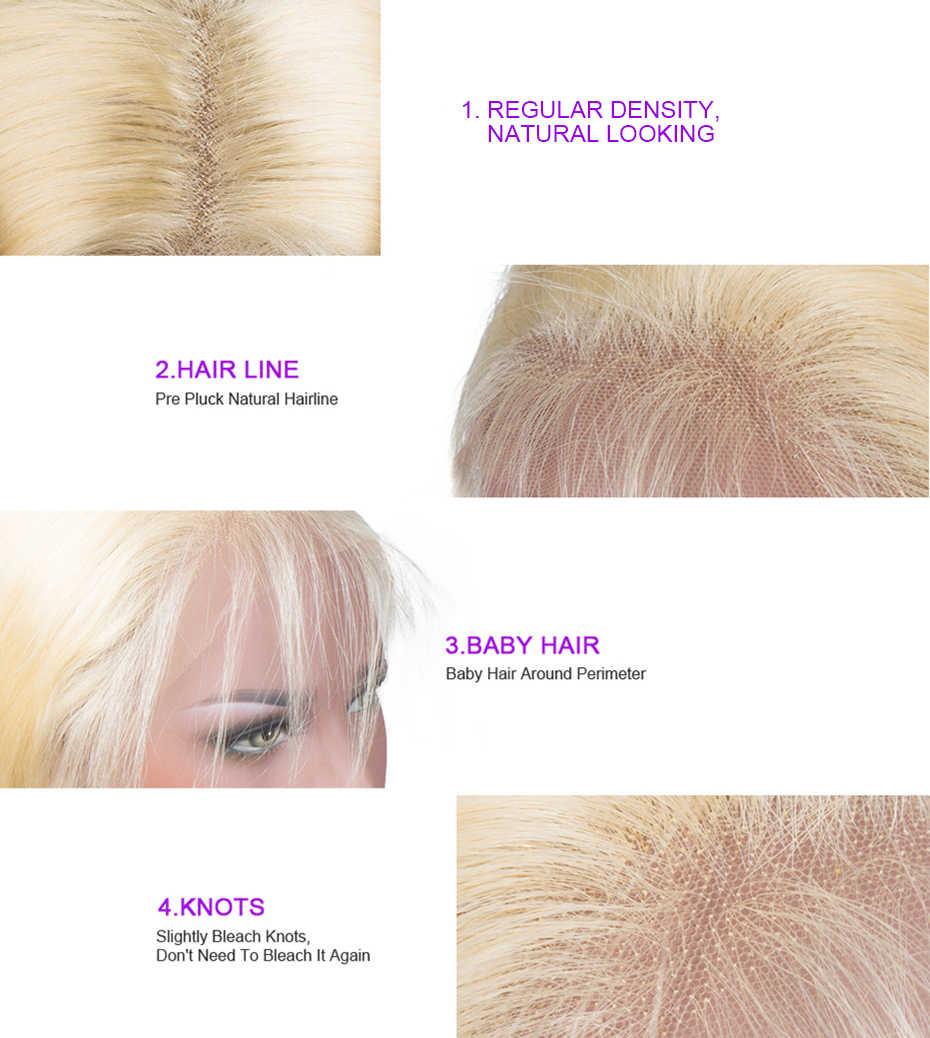613 blond koronkowa peruka na przód prosto przezroczyste peruki typu Lace z ludzkich włosów 180% gęstość Remy krótki Bob koronkowa peruka na przód s dla kobiet