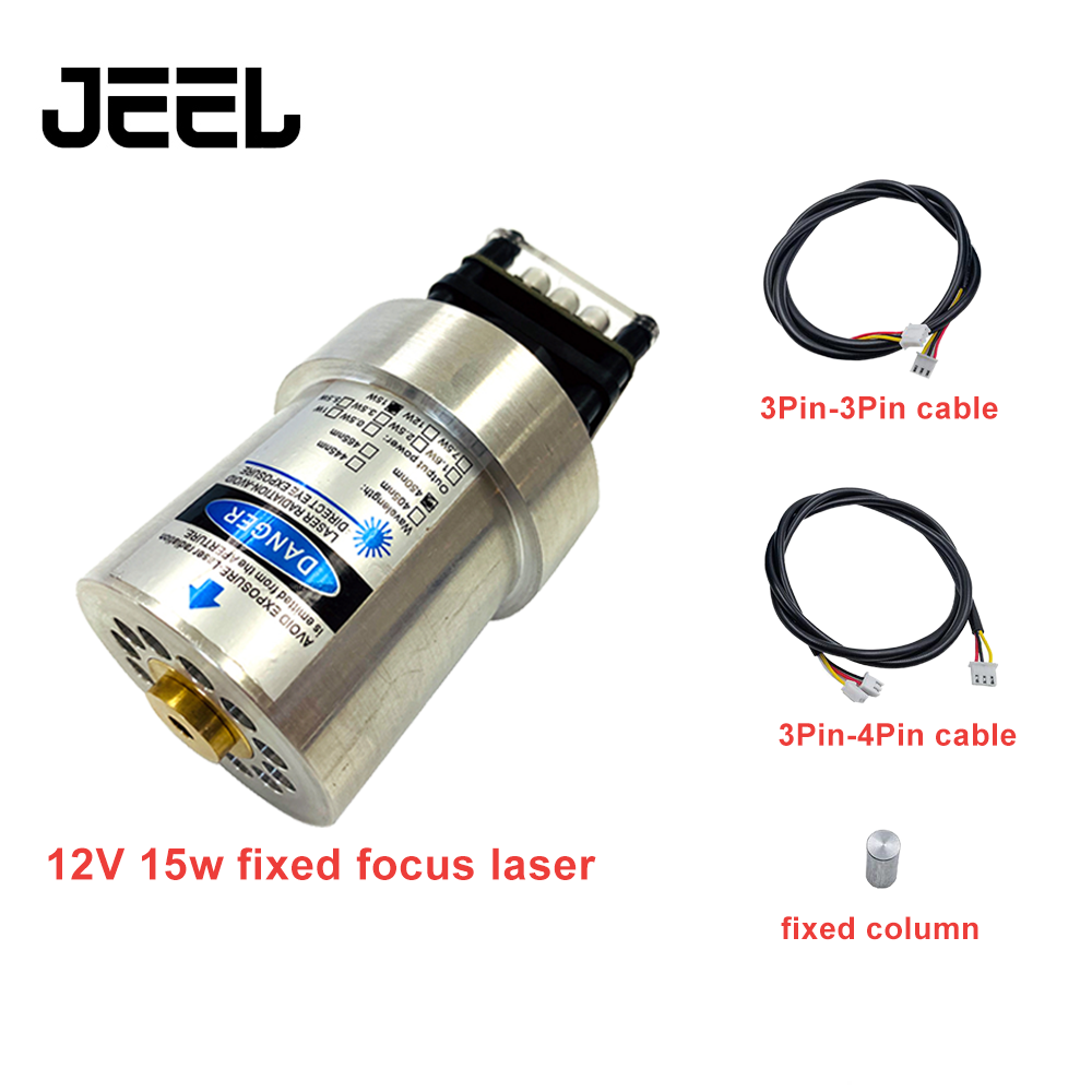 52mm Cylinder Laser Module New 15W Fixed-Focus Can Engrave On Stainless Steel 15000mw DIY Carving Engraver Accessory With PWM