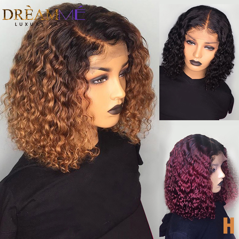 1B/99J Burgundy Red Ombre Short Human Hair Wigs Pre Plucked Curly Blonde Lace Front Bob Wig 150 Density 13X6 Brazilian Remy Wig