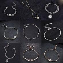 Bracelet avec pendentif en forme de cœur à feuille pour femme, bijou à la mode, Double cœur, chaîne, cadeau de saint valentin
