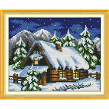 Winter Fairy Tale House (1)! 14CT DIY Needlework Counted Cross Stitch
