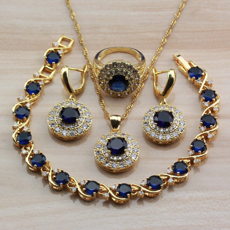Amazing Round Blue Cubic Zirconia Yellow Gold Color Jewelry Sets For Women Africa Choker Necklace Bracelet Ring Sets