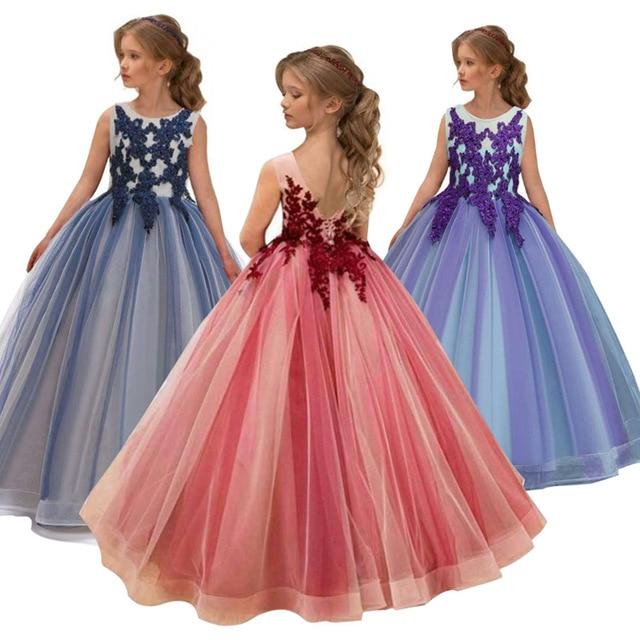 Girls Wedding Kids Dresses For Girl Party Dress Lace Princess Summer Teenage Children Princess Bridesmaid Dress 8 10 12 14 Years