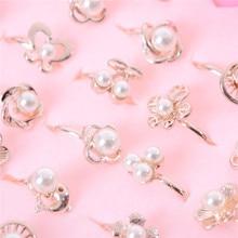 2 шт., набор милых разноцветных колец с кристаллами для девочек, детские кольца с искусственным жемчугом для принцесс, случайная отправка, игрушки для рукоделия