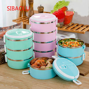 1P1Pc Portable Stainless Steel Insulated Lunch Box for Office Lunch Boxes, Leak-proof Thermos, Camping Food Container Supplies