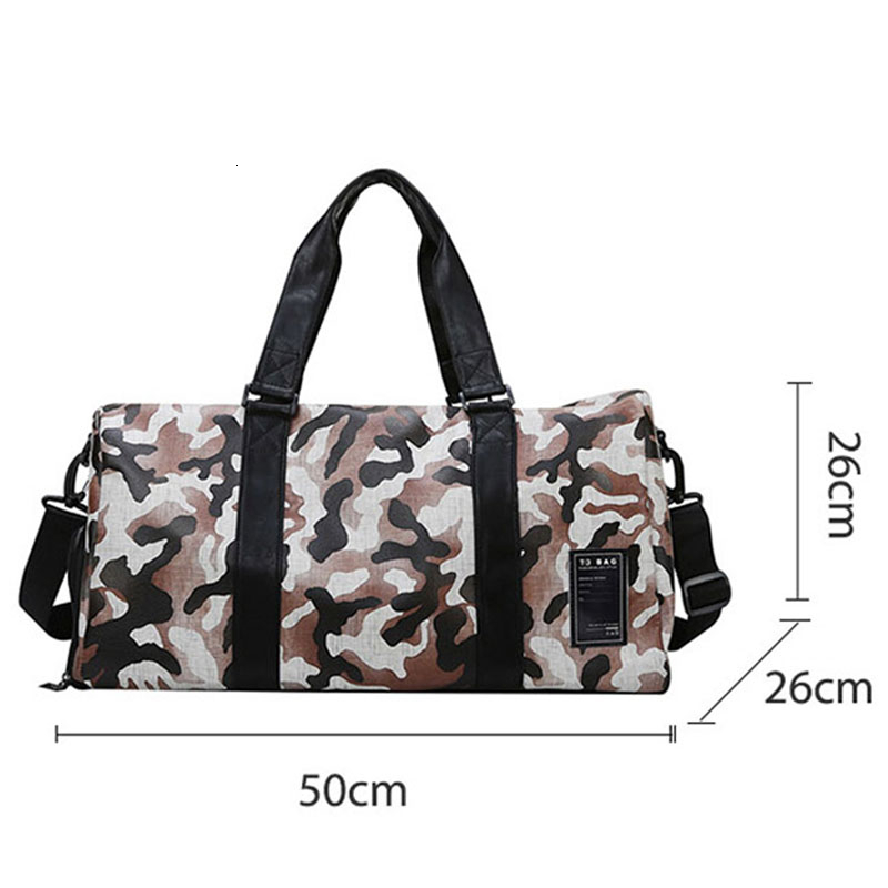 New Camouflage Fitness Bag Leather Women Sports Bags With Shoes Compartment Gym Bag Arge Capacity Travel Shoulder Handbag Bag