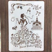 Свадебное платье А4 29*21см DIY трафареты стены скрап-картина раскраска выбивая альбом декоративные шаблон бумаги карты