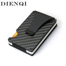 Dienqi fibra de carbono titular do cartão mini fino carteira de metal de alumínio dos homens rfid magia carteira pequena fina masculino bolsas bolsa dinheiro vallet
