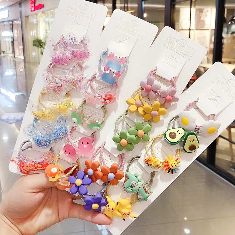 10Pcs/Set Children Cute Cartoon Flower Fruit Rubber Bands Girl Sweet Princess Elastic Hair Bands Scrunchies Kid Hair Accessories