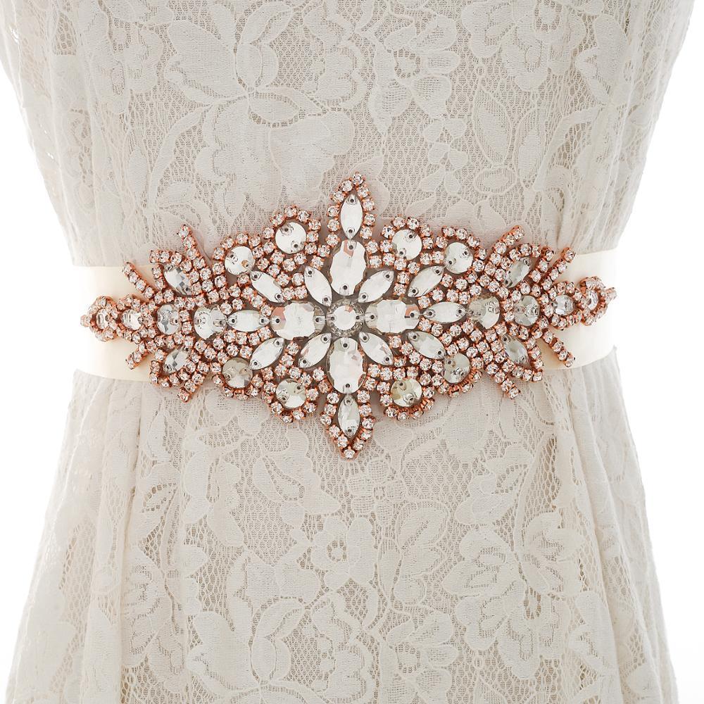 Rose Gold Rhinestones Crystal Belt Wedding Belt And Sash Handmade Diamond Belt Bridal Accessorie J101RG