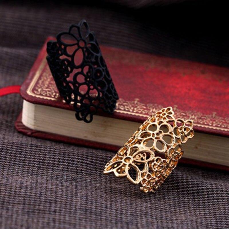 Женское кольцо с цветами, богемное кольцо в форме цветка, золотистое и черное ювелирное изделие