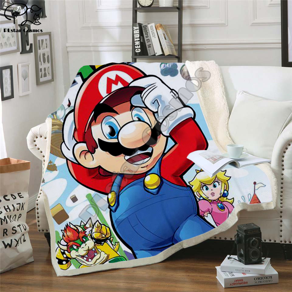Kids Super Mario Cartoon Blanket 3d Design Flannel Fleece Blanket Anime Sonic Print Children Boy Girl Warm Bed Throw Blanket 002