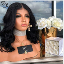 Zesen 13 × 4 peruca dianteira do laço curto natural preto cor solta onda gluless perucas sintéticas resistentes ao calor para preto