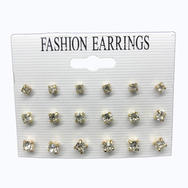 Bosomate 9Pairs/ Set Simple Zirconium Crystal Stud Earrings For Women Earrings Set Female Fashion Jewelry