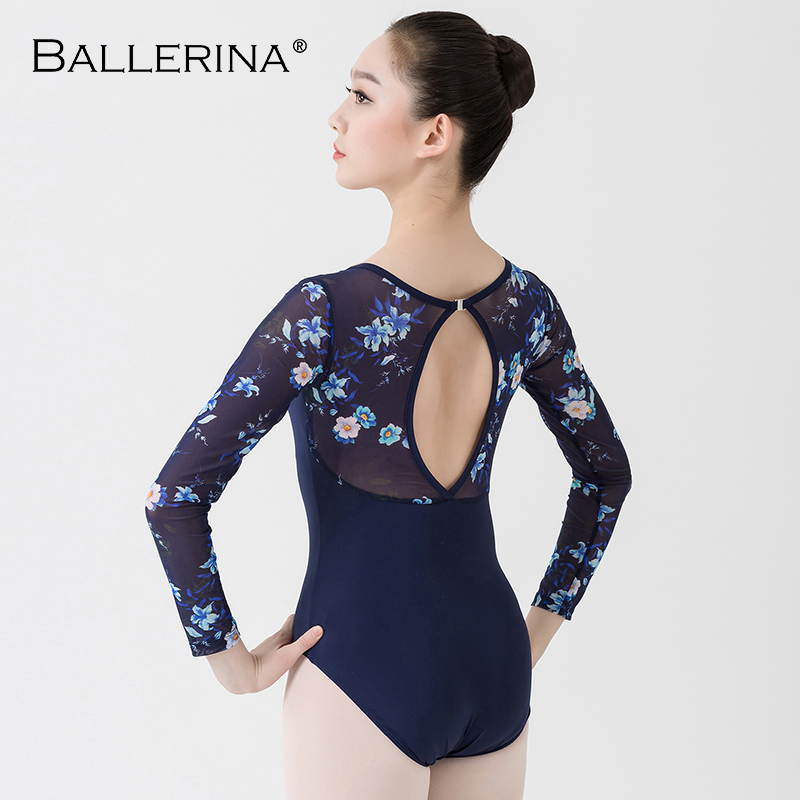 Image 2 - Ballet Leotards long sleeve For Women Dance Costume open back gymnastics printing mesh Leotards Ballerina 5887Ballet   -