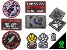 3D Embroidery Airsoft Patch K9 Pet SERVICE DOG Paw Tactical Army Morale Emblem Military Patches Badge For Backpack