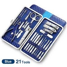 21 in 1 Edelstahl Maniküre set Professionelle nagel clipper Kit von Pediküre Werkzeuge Nägel kappe Clipper Box Für Kappe finger pflege