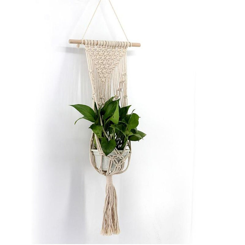 1pc Large sized Plant Hanger Basket Handmade Rope Pots Holder Fine Hemp Rope Net Flower Pot Plant Lanyard|Hanging Baskets| |  - title=