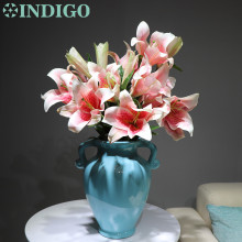 High Quality Silk+Latex Coating Real Touch Pink 3D Lily Home Artificial BIG Flower Wedding Party Free Shipping