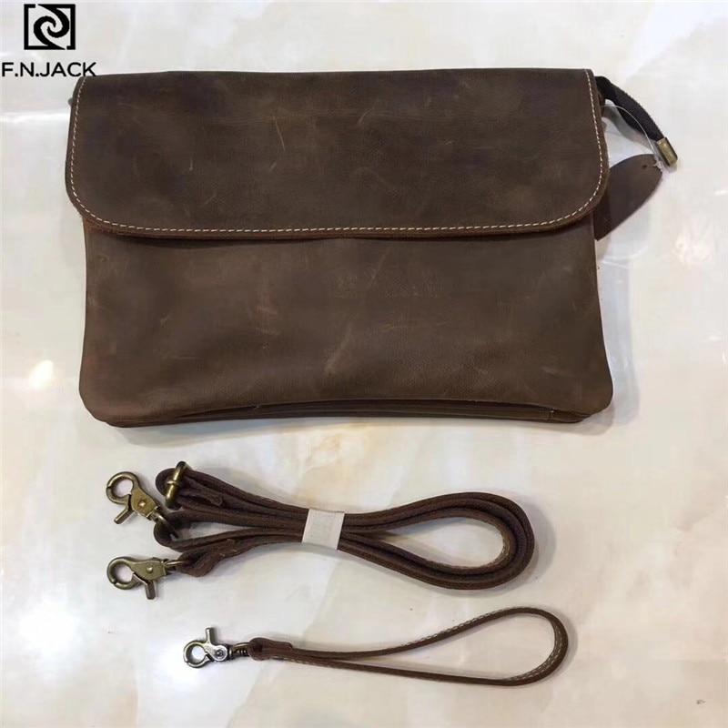 F.N.JACK Cheap Cool Messenger Bag Handbag Clutch BagTop Cowhide Mad Horsehide Hand-held Day Clutches Bag 2019