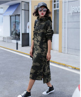 Spring New Long Style Thin Sweatshirts Women Korean Fashion Hooded Camouflage Hoodies Plus Size Loose Casual Pullovers Dress