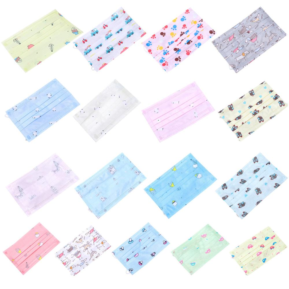 10Pcs/Set Children Kids Disposable Dustproof Mouth Mask 3 Layers Non-Woven Cute Cartoon Printed Earloop Respirator Cover