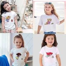 Meninas tshirt moda princesa menina roupas de verão impressão crianças tshirt em torno do pescoço manga curta design crianças branco topo