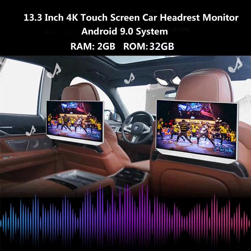 13.3 Pollici Android 9.0 2 Gb + 32 Gb Auto Poggiatesta Monitor 4K 1080P Dello Schermo di Tocco di Wifi/ bluetooth/Usb/Sd/Hdmi/Fm/Specchio Link/Miracast