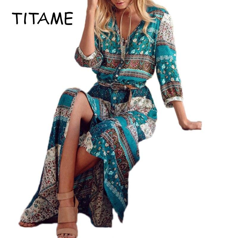 TITAME Women Floral Bohemia Dress Long Maxi Dresses Bohemia Short Sleeve Print Dress Women Beach Holiday Dress
