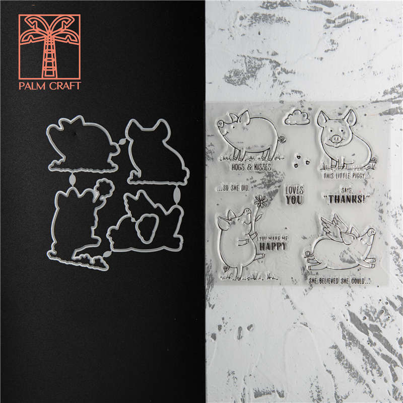 Flying Piggy Stamps And Dies Set 2020 Clear Stamp Scrapbooking & Stamping DIY Album Rubber Metal Cutting Dies Gift Card Stencil