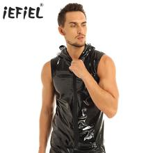 Mens Punk Fashion Club Tops Wet Look Patent Leather Sleeveless Hoodie Clubwear Hip Hop Tank Top with Zipper Closure Man Clothing