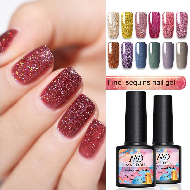 8ml MAD DOLL 1 Bottle 12 Colors  Fine Sequins UV Gel Bling Sequins Holographics UV Soak Off Manicuring Nail UV Gel Polish
