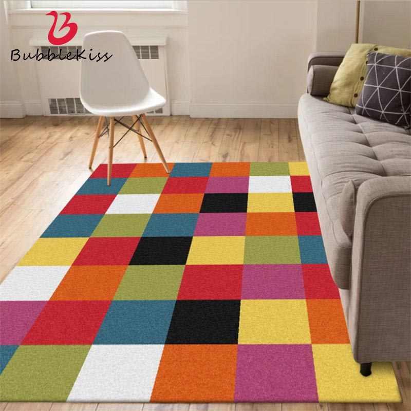 bulle baiser style nordique colore motif carre epaissi chambre tapis mode decor a la maison tapis pour salon tapis antiderapant