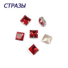 CTPA3bI 4447 Princess Square Light Siam Rhinestones Charming Needlework Beads For Jewelry Making Crystal Glass Strass Garments