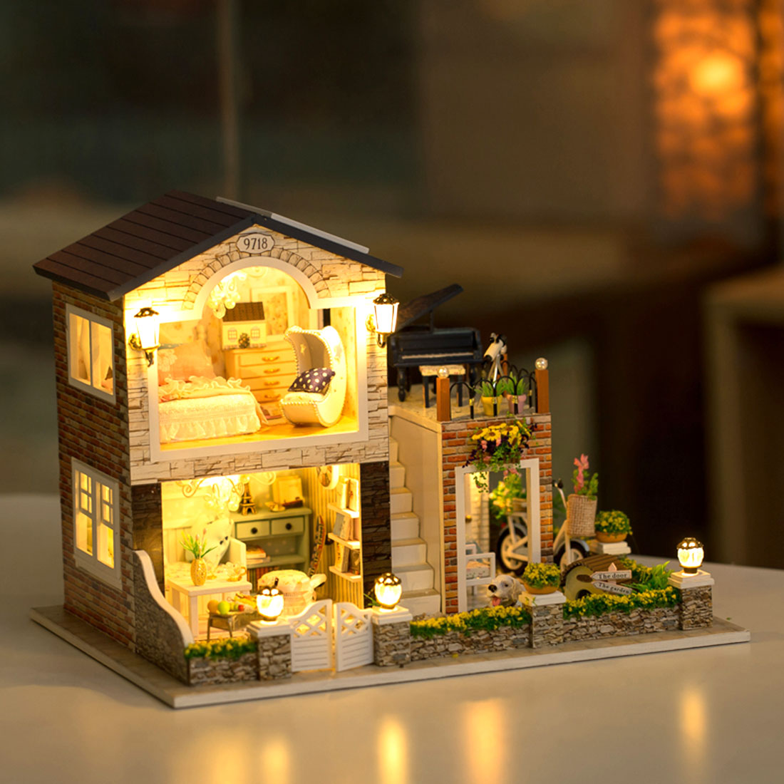 Wooden DIY Doll House Miniature Handmade Assembly Model House Toy With Light And Music Birthday Gifts Christmas Decorations
