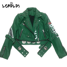 Outwear Biker-Jacket Slim-Coats Women Ladies Zipper Green Winter Moto LORDLDS Fasihon