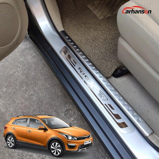 Accessoires de style de voiture pour KIA RIO 3 4   Accessoires de ligne x, seuil de porte en acier inoxydable, protecteurs de garniture de manchettes pédale x line 2015 2017 2018 2019