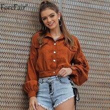 Forefair Corduroy Jacket Short Women Autumn Winter Outerwear Streetwear Button C