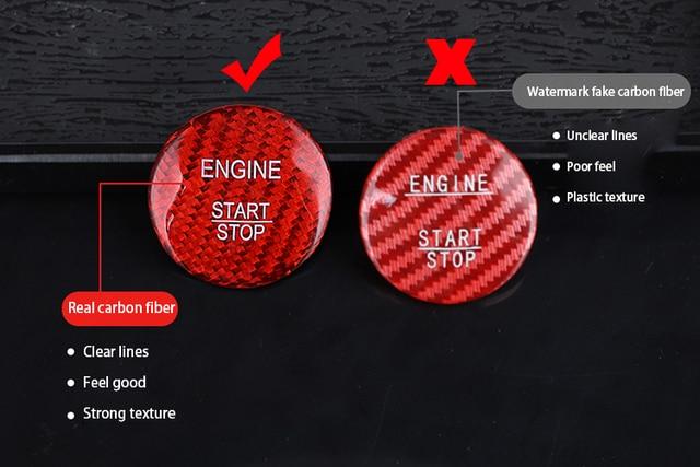 ManH FenT Real Carbon Fiber Car Engine Start Stop Button Cover Sticker For Jaguar XF XE F Pace XJ X-type Ruitar E Pace Emblem 4