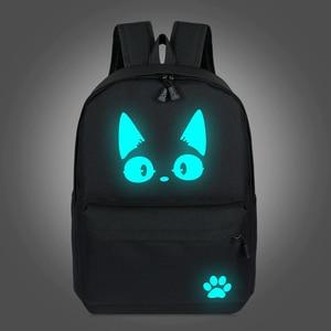 Image 1 - 2019 School Backpacks For Teenage Boy Girls Luminous Cartoon Bag Schoolbag Bag For Teenagers Student Cute Cat Backpack to School