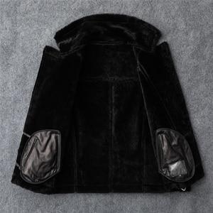 Image 4 - 무료 배송, 패션 여성 정품 가죽 자켓, 겨울 따뜻한 100% 모피 코트. 양모 양모 의류, 플러스 사이즈 shearling clothes