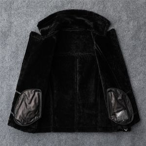 Image 4 - משלוח חינם, אופנה נשים אמיתי עור מעיל, חורף חם 100% פרווה מעיל. כבש צמר בגדים, בתוספת גודל shearling בגדים
