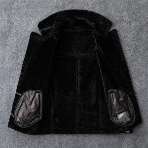 Image 4 - Ücretsiz kargo, moda kadınlar hakiki deri ceket, kış sıcak % 100% kürk ceket. Koyun derisi yün elbise, artı boyutu shearling giysileri