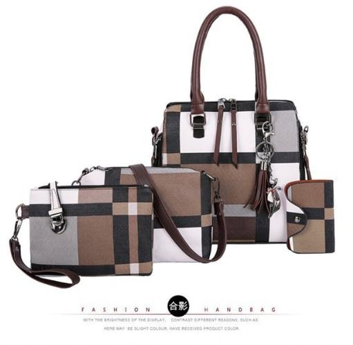 VIP Handbags 2020 4 PCS/Set Women Plaid Pattern Handbag Female Shoulder Bag Travel Shopping Ladies Crossbody Bag